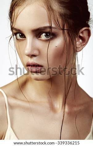 Beauty portrait of a blond young women