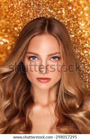 Beauty portrait of a fashion model with summer make up and blonde hair.  - stock photo