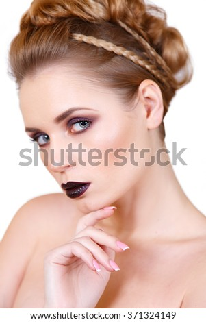 beauty portrait of a girl with bright makeup and hairstyle. Creative Hairstyle. Hairdo. Make up. Beauty Woman isolated on a White Background - stock photo