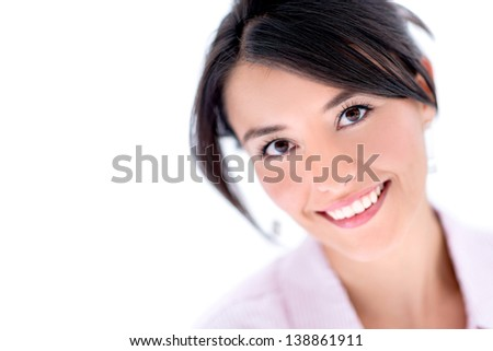 Beauty portrait of a woman smiling - isolated over white