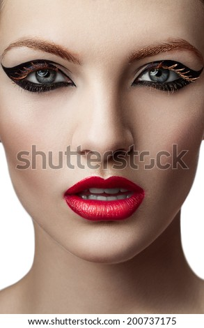 Beauty portrait of a woman with creative make up