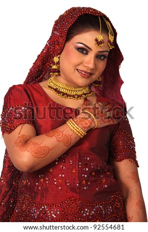 Beauty portrait of a young arab woman in traditional clothes with bridal makeup and jewelry, closeup shot - stock photo