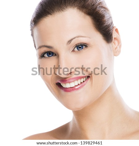 Beauty portrait of a young blonde woman, isolated on white background - stock photo