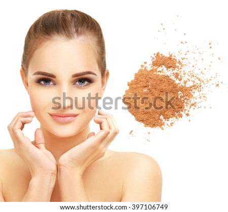 Beauty portrait of a young girl.Close up of a make up powder on white background - stock photo