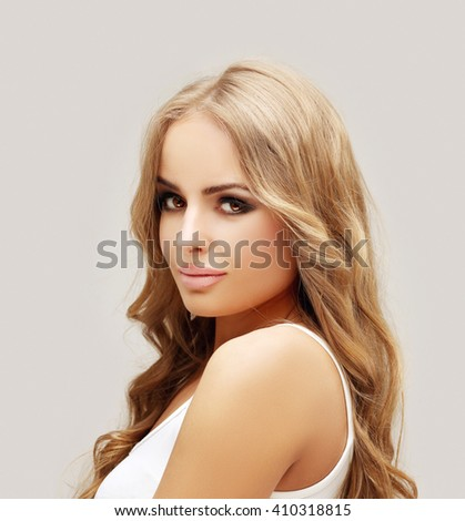 Beauty portrait of a young girl. Fresh Clean Skin - stock photo