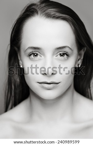 beauty portrait of a young model shot in the studio - stock photo