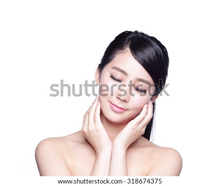 beauty portrait of a young woman realx closed eye isolated on white background, concept for health , asian beauty - stock photo