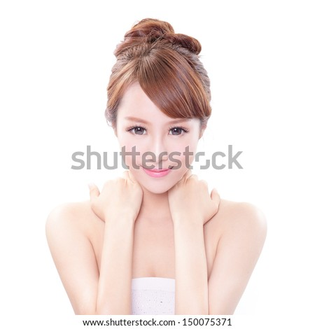 beauty portrait of a young woman with hand on her shoulder isolated on white background, concept for health , asian beauty model - stock photo