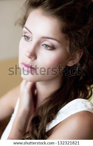 Beauty. Portrait of Affectionate Candid Woman. Harmony & Relaxation - stock photo