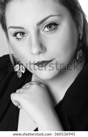 Beauty portrait of an attractive young woman.Black and white photography - stock photo