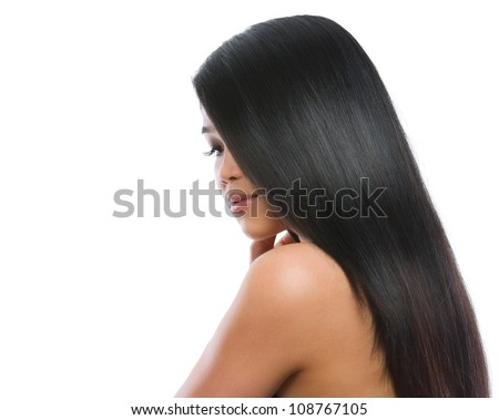 Beauty portrait of asian brunette girl smooth long straight hair isolated on white - stock photo