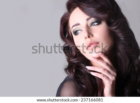 Beauty portrait of attractive brunette woman.  - stock photo
