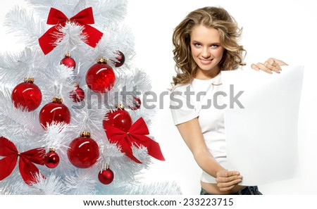 beauty portrait of attractive  caucasian smiling woman  - stock photo