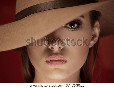 Beauty portrait of attractive young woman with beautiful eye. - stock photo