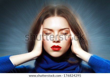 Beauty Portrait Of Beautiful Girl Meditating With Closed Eyes Close UP - stock photo