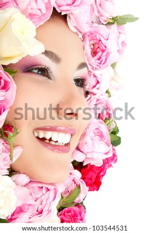 beauty portrait of beautiful young female face with flower roses frame, isolated on white background - stock photo