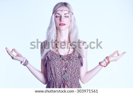 Beauty portrait of boho blonde woman meditates, doing yoga, closed eyes, people, copyspace. Attractive hippie model girl enjoying relax, harmony. Young happy woman in floral sundress . Romantic style - stock photo