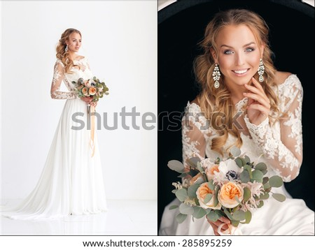 Beauty Portrait of bride wearing in wedding dress with voluminous skirt, studio photo. Young attractive bride with bouquet of flowers. Smiling beautiful young bride - stock photo