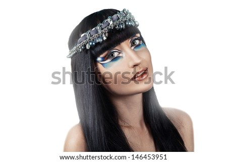 Beauty portrait of fashion brunette with colorful make-up