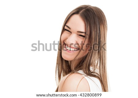 Beauty portrait of gorgeous girl with fresh look smiling and looking cheerful isolated on white with copyspace - stock photo