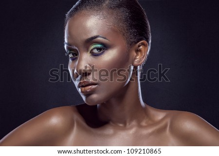 Beauty portrait of handsome ethnic african girl. Always more on my portfolio - stock photo