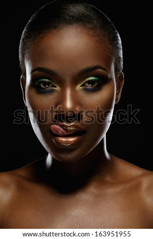 Beauty portrait of handsome ethnic african girl. Always more on my portfolio. - stock photo