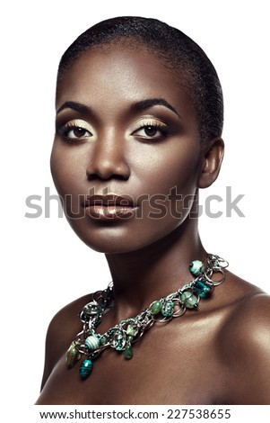 Beauty portrait of handsome ethnic african girl, isolated on white background - stock photo