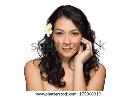 Beauty Portrait Of Latin Girl With Frangipani Flower In Her Hair Isolated On White Background - stock photo