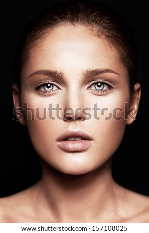 Beauty portrait of model with natural make-up  - stock photo