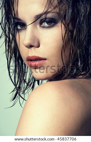 Beauty portrait of Patty with wet hair