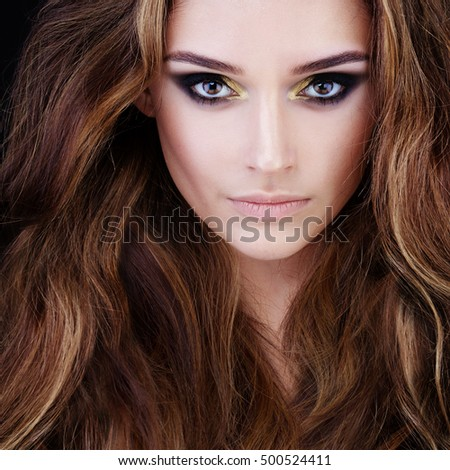 Beauty Portrait of Pretty Woman with Brown Hair. Beautiful Face