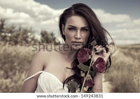 Beauty portrait of seductive woman - stock photo