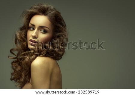 Beauty portrait of sensual young fashion woman - stock photo