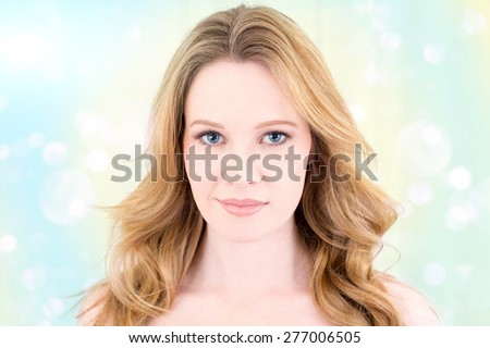 Beauty portrait of woman with wind blown hair - stock photo