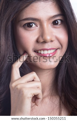 Beauty portrait of young asian woman smiling