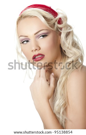 Beauty portrait of young beautiful blonde girl