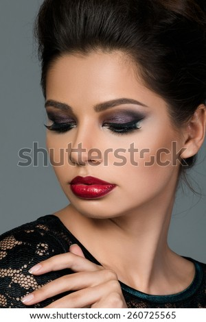 Beauty portrait of young beautiful woman with arabic makeup - stock photo