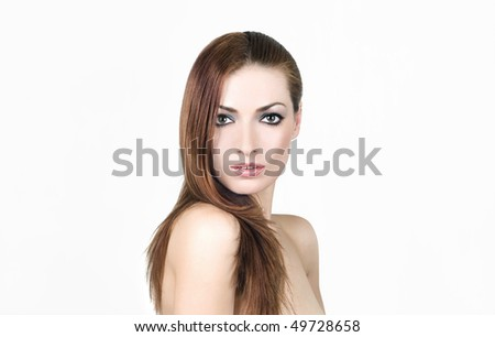 Beauty portrait of young brunette - stock photo