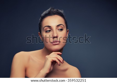 Beauty portrait of young brunette caucasian attractive woman. Toned - stock photo