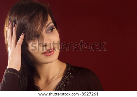 Beauty portrait of young brunette pretty girl