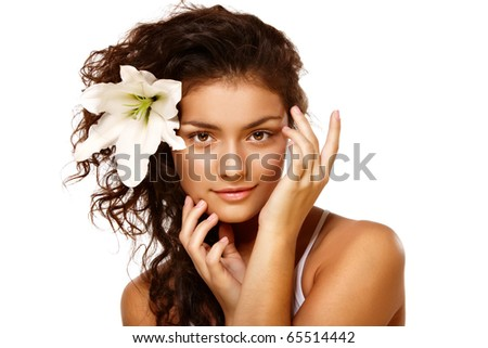 Beauty portrait of  young brunette woman over isolated white - stock photo