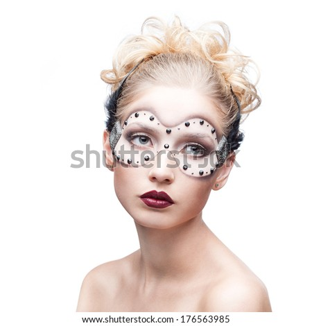 beauty portrait of young caucasian blond woman in fantasy makeup isolated on white - stock photo