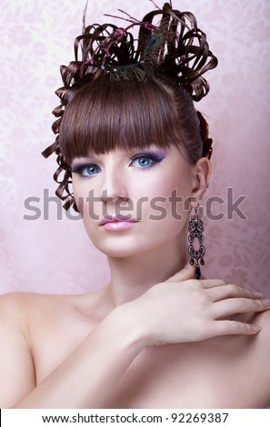 beauty portrait of young girl with fashion hair style and make up - stock photo