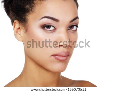 Beauty portrait of young mulatto fresh fashion woman with beautiful makeup, isolated - stock photo
