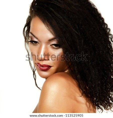 Beauty portrait of young mulatto fresh woman with beautiful makeup over white background