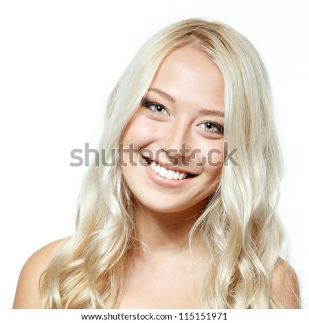 Beauty portrait of young smiling girl with blond hair. Isolated on white background
