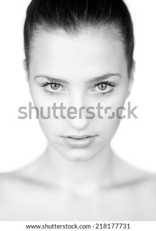 beauty portrait of young woman in black and white - stock photo