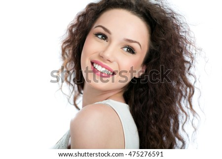 Beauty portrait of young woman on white background