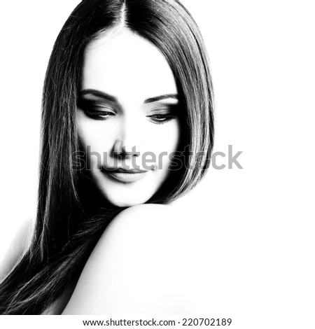 Beauty portrait of young woman with beautiful healthy face, studio shot of attractive girl, black and white - stock photo