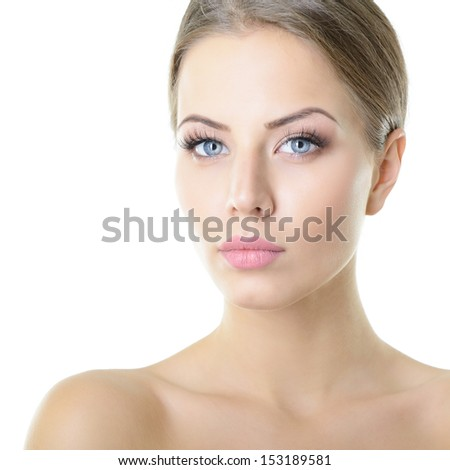 Beauty portrait of young woman with beautiful healthy face, studio shot of attractive girl over on white background